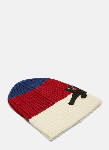 Striped Panther Appliqué Beanie Hat