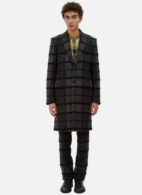 Tactile Multi-Checked Single-Breasted Coat