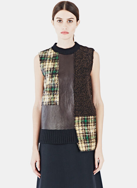 Gretta Leather Tweed Patchwork Top