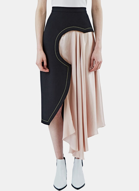Niamh Geometric Satin Draped Skirt