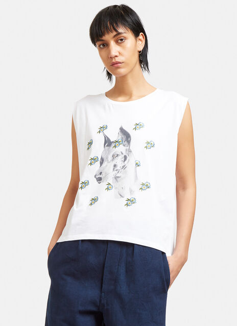 Embroidered Dog Print Tank Top