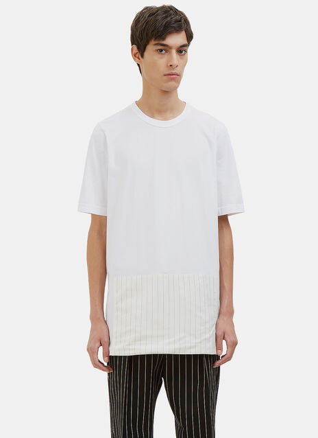 Oversized Pinstripe Patched T-Shirt