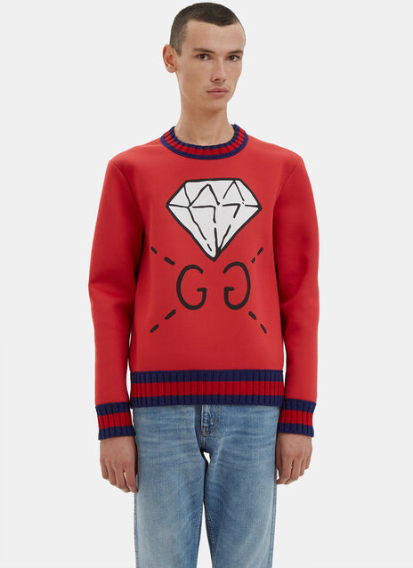 Oversized GUCCIGHOST® Screen- Printed Sweater