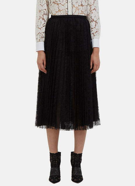 Mid-Length Pleated Lace Skirt