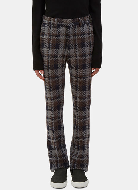 Checked Wool Straight Leg Pants