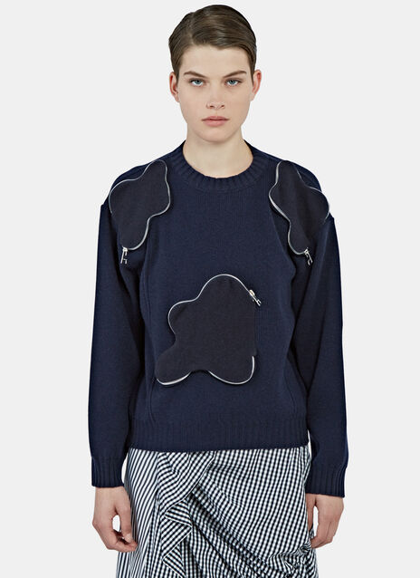 Zipped Squiggle Pocket Army Sweater
