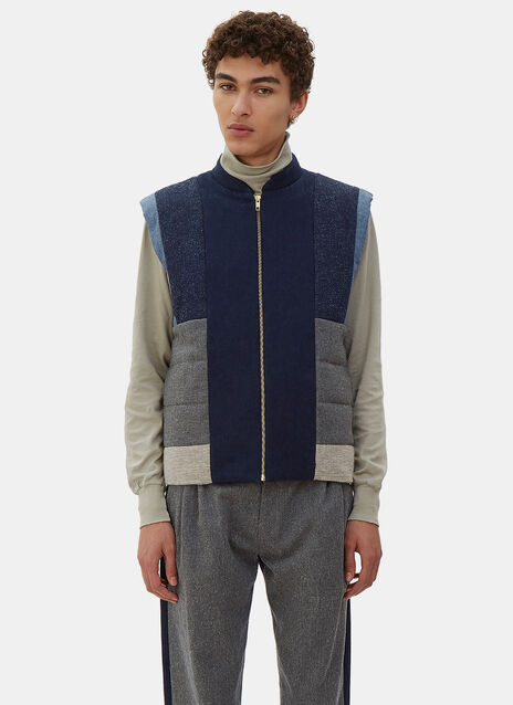 Quilted Denim Patchwork Vest