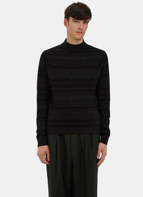 Mock Neck Jacquard Knit Sweater
