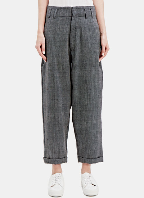 STUDY WOOL PANTS IN BLACK AND CREAM