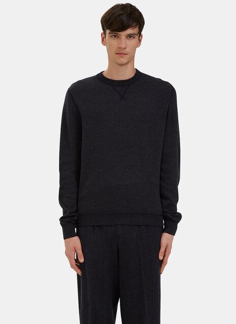 Crew Neck Zigzag Knit Sweater
