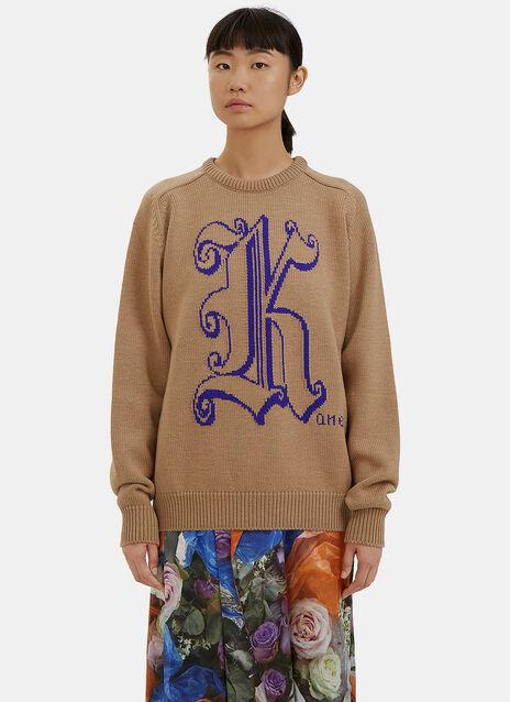 Intarsia Logo Knit Sweater