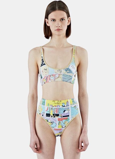 Comic Print Bikini Top