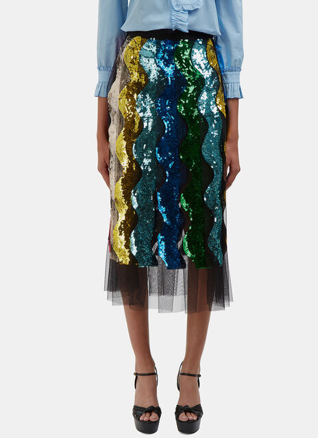 Sequin Waved Tulle Pleat Skirt