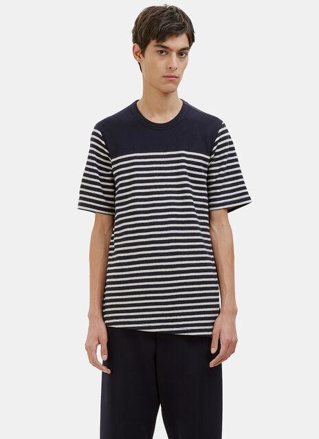 Contrast Layered Stripe Felt T-Shirt