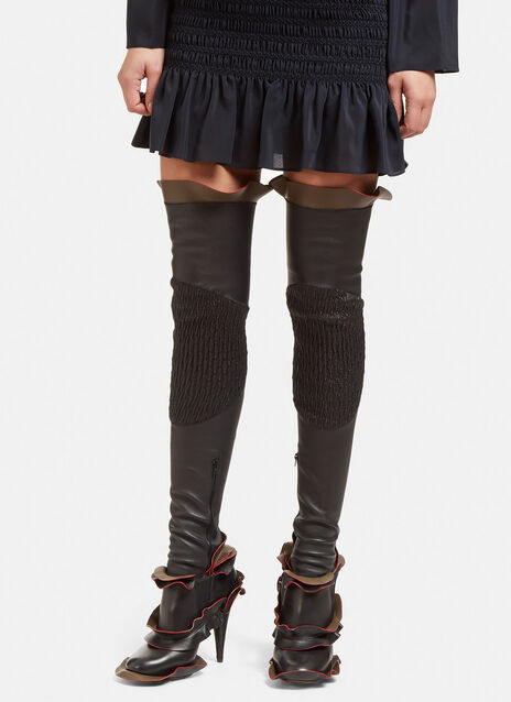 Thigh High Ruffled Leather Socks