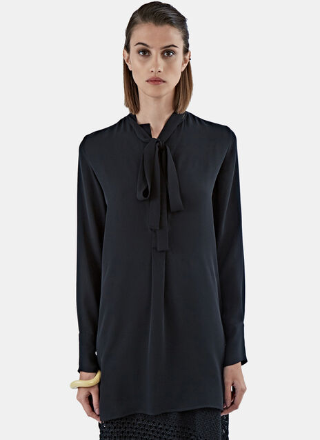 Long Pussy-Bow Blouse