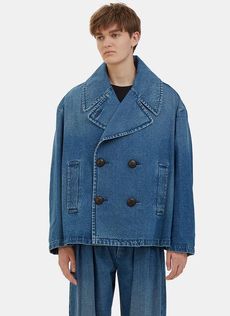 Oversized Denim Pea Coat