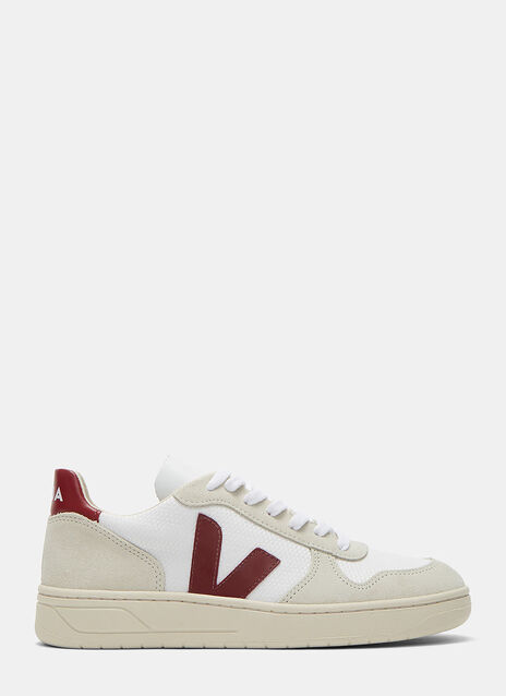 V-10 Mid-Top Canvas and Suede Panelled Sneakers
