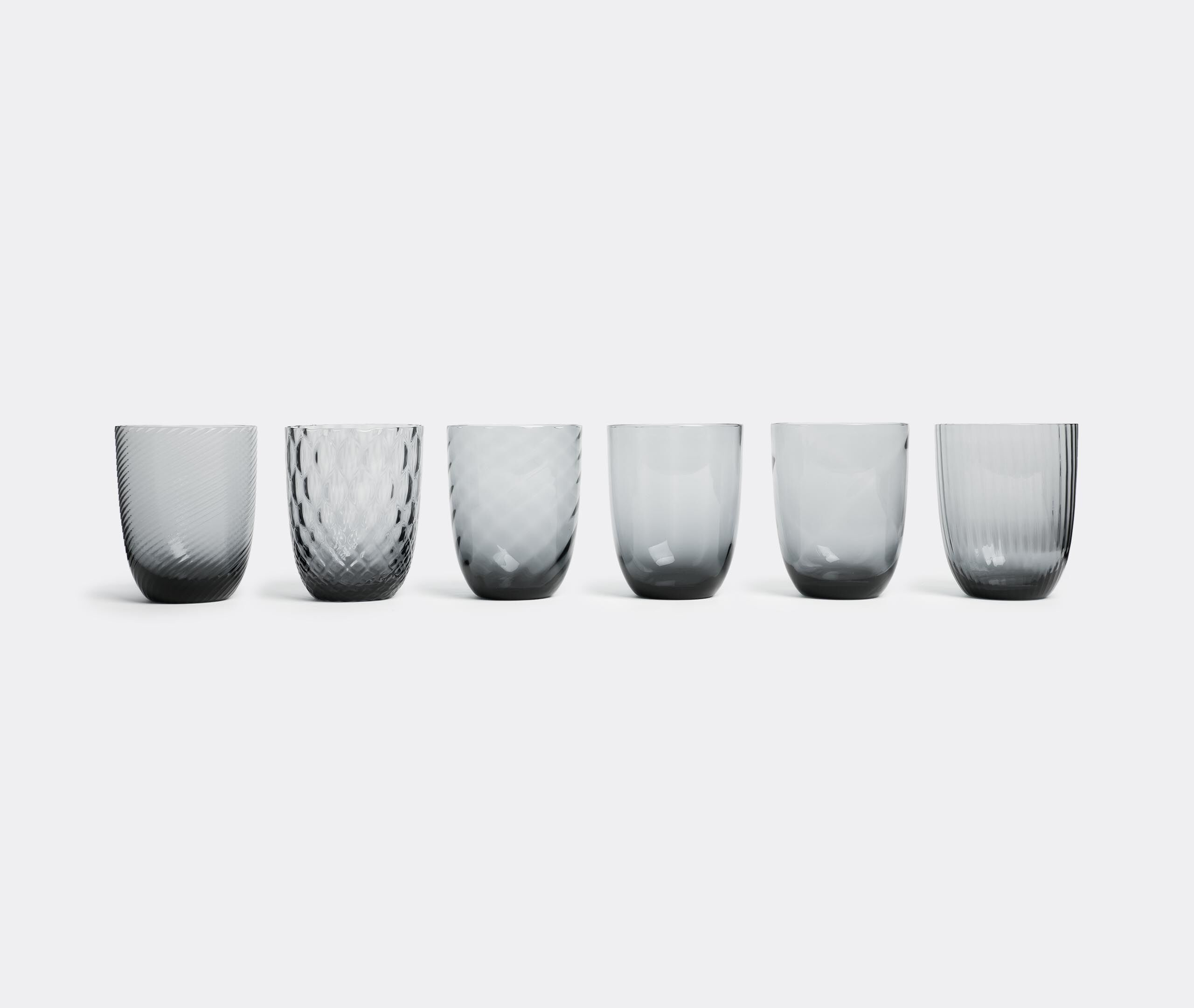 Water Glass, Grey, Set Of Six 6