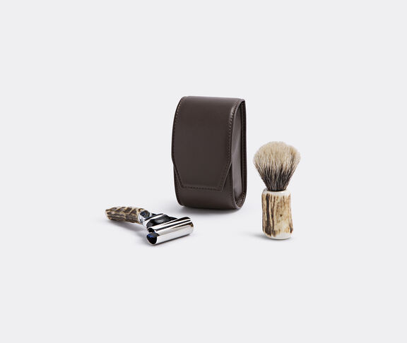 Stag antler travelling shaving set