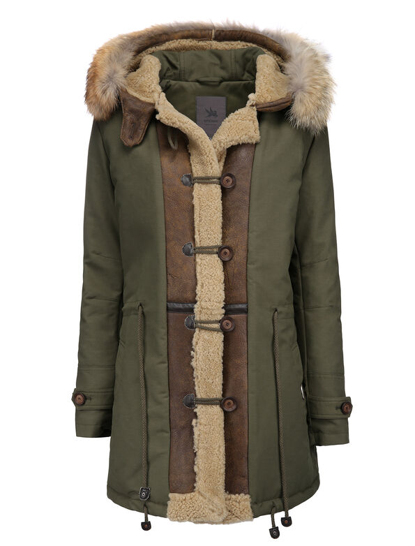 W'S PARKA WITH RAM DETAILS_REAL COYOTE FUR