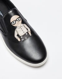 LONDON SLIP-ON SNEAKERS IN LEATHER WITH PATCHES OF DESIGNERS