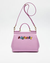 MEDIUM SICILY BAG IN DAUPHINE LEATHER WITH DG FAMILY PATCH