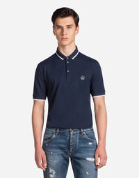 POLO SHIRT IN PRINTED COTTON PIQUE