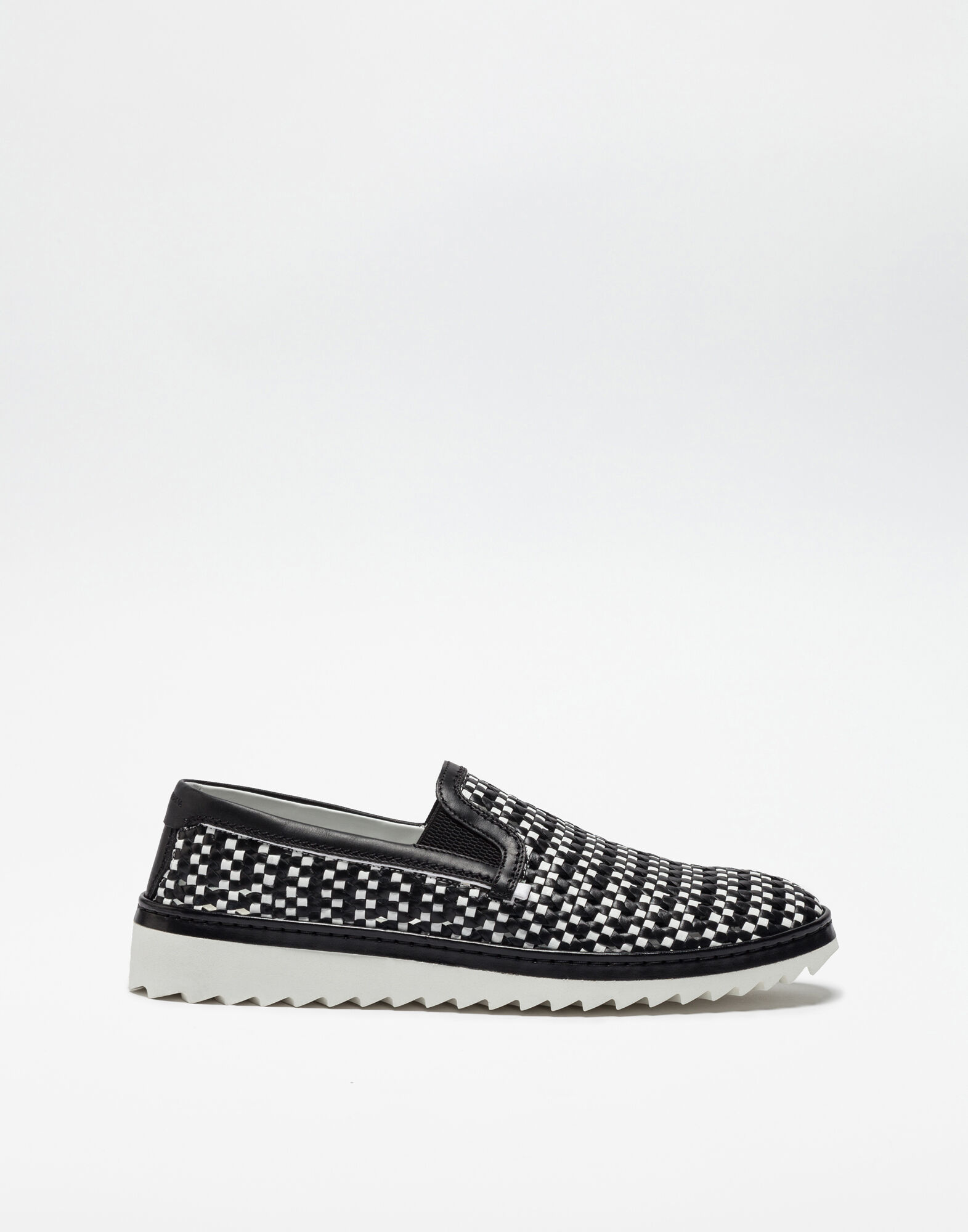 TWO-COLOR SLIP ONS IN BRAIDED LEATHER