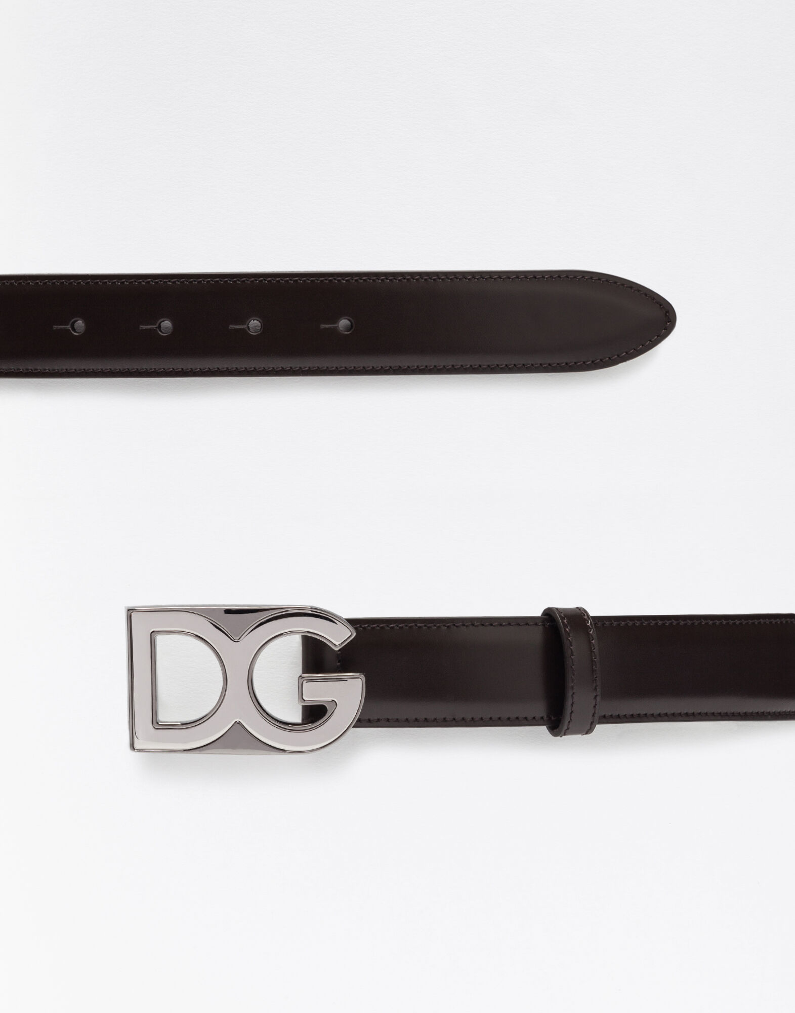 LEATHER BELT WITH LOGOED BADGE