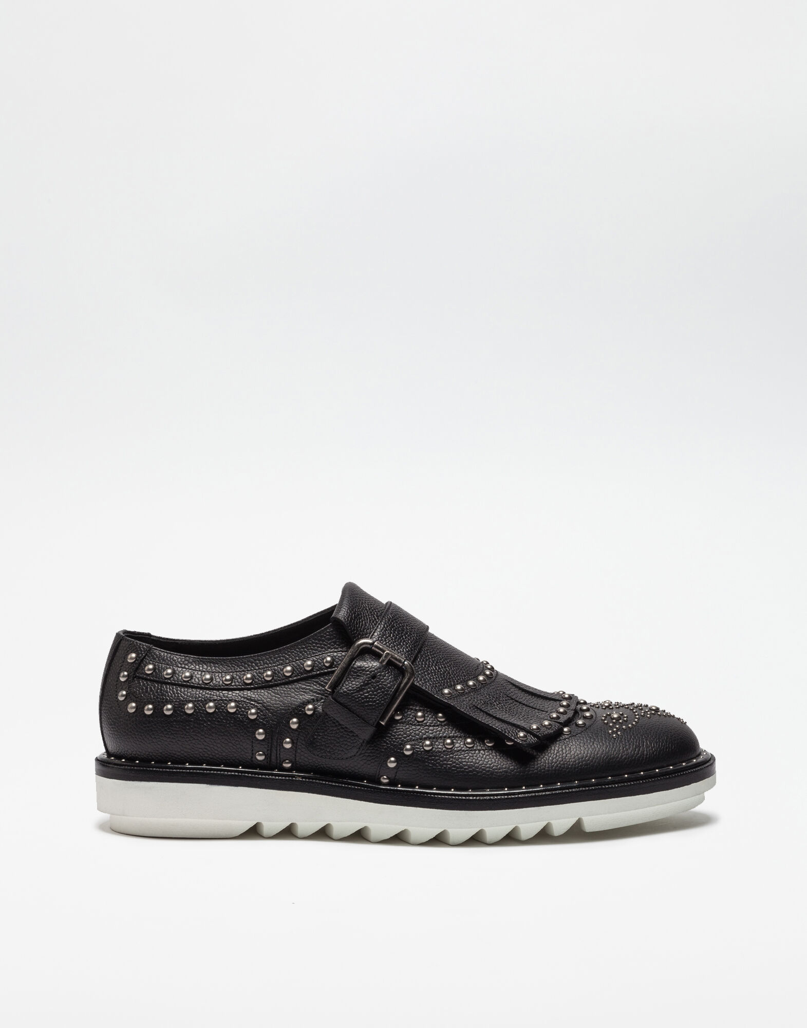 MONK WITH FRINGE LEATHER SHOES AND STUDS