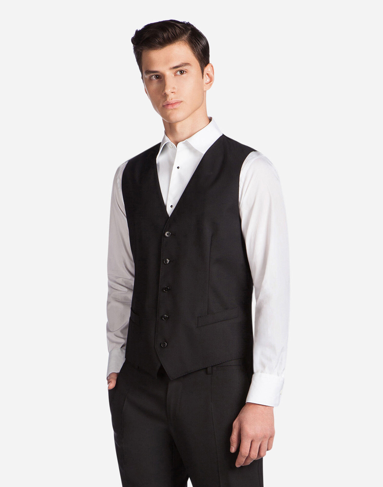 FIVE BUTTON VEST IN WOOL