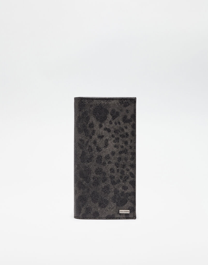 VERTICAL WALLET IN LEOPARD TEXTURED LEATHER