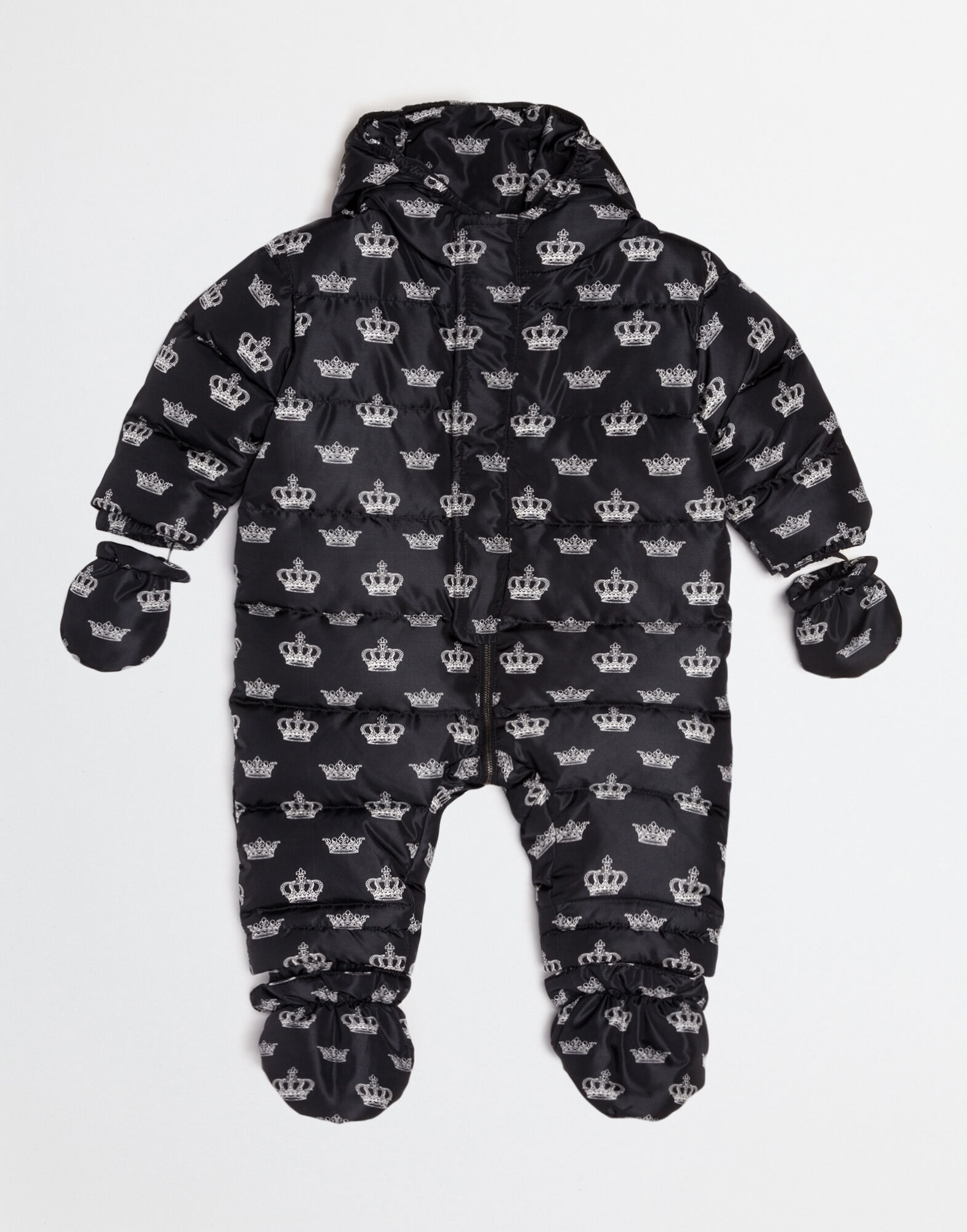 DOWN PADDED NYLON PRINT BABY SNOWSUIT