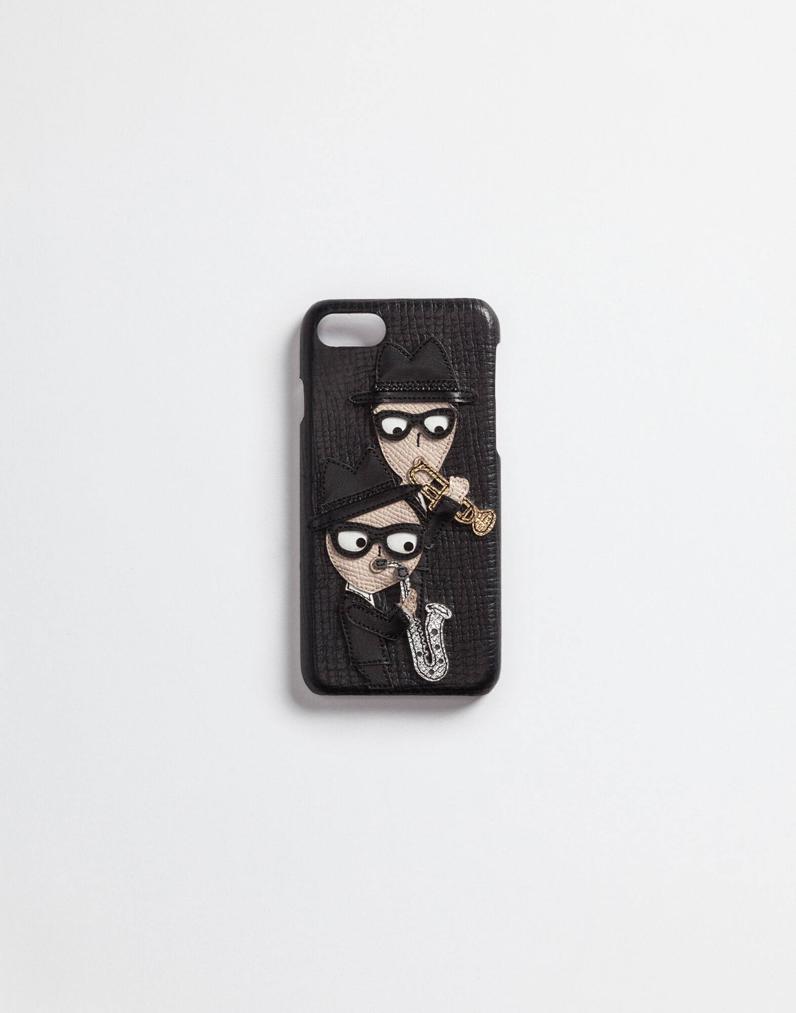 COVER FOR IPHONE 7 IN LEATHER WITH DESIGNERS PATCH