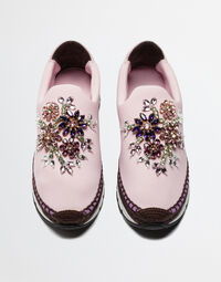 SLIP-ON SNEAKERS WITH JEWELED APPLIQUÉS AND DOUBLE BOTTOM