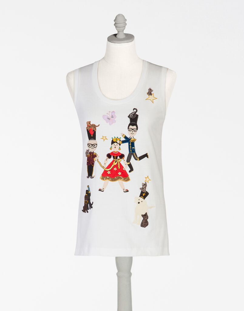 PRINTED COTTON SLEEVELESS T-SHIRT