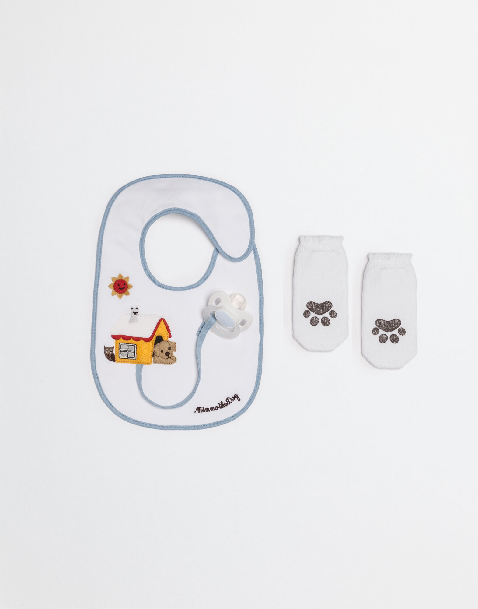 MIMMO THE DOG SET WITH BIB AND SOCKS