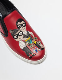SLIP ON SNEAKERS WITH DESIGNER PATCH AND APPLICATIONS