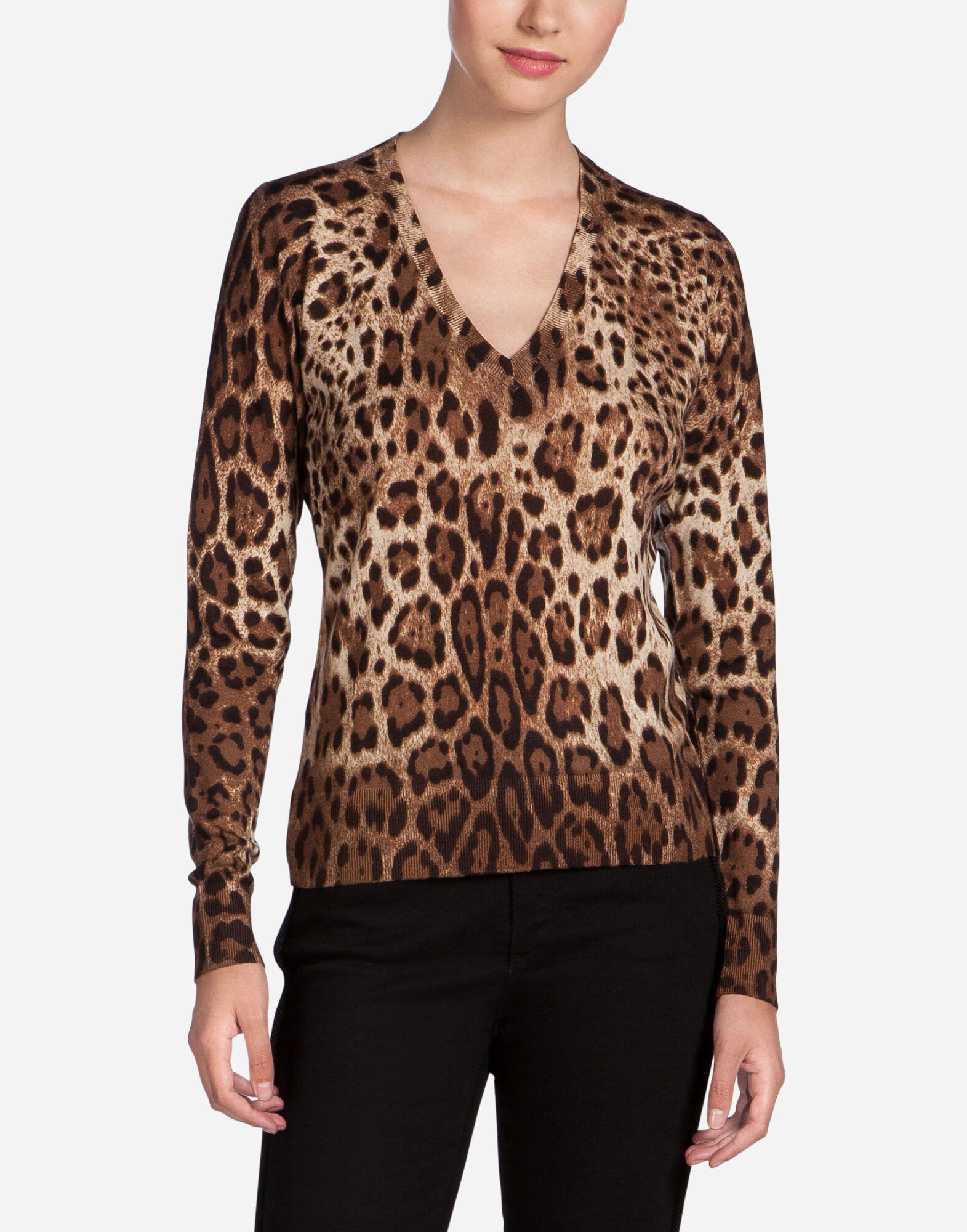 PRINTED V-NECK CASHMERE SWEATER
