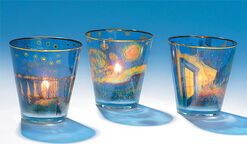 "Three glass lanterns ""Van Gogh"" in set"