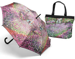 "Stick Umbrella and Bag ""Iris Flower Bed in Monet's Garden"""