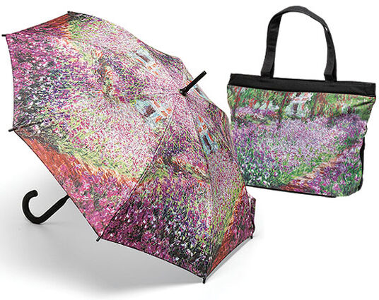 "Claude Monet: Stick Umbrella and Bag ""Iris Flower Bed in Monet's Garden"""