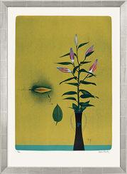 """Bild """"Lilien auf gelbem Grund"""" (1997), gerahmt"""