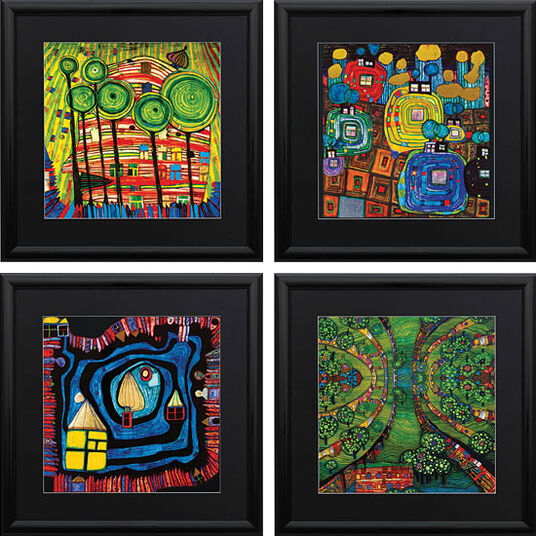 friedensreich hundertwasser 4 bilder im set ars mundi. Black Bedroom Furniture Sets. Home Design Ideas