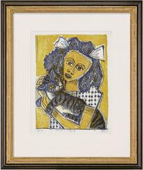 """Bild """"Mädchen mit Katze"""" (1956)"""