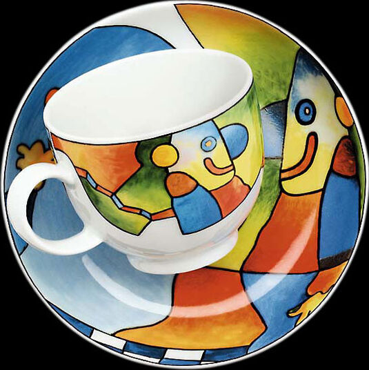 """Otmar Alt: Kaffeetasse und Untertasse """"Blaunase"""", Porzellan"""
