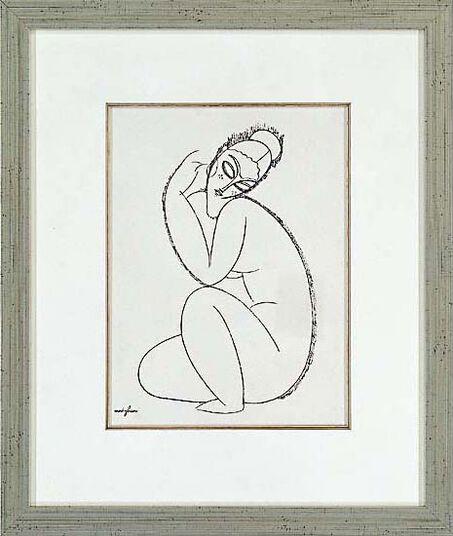 """Amedeo Modigliani: Picture """" Nude Female II."""" in a frame"""