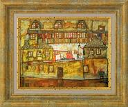 """Bild """"Hauswand am Fluss"""" (1915), gerahmt"""