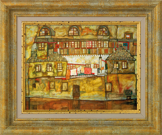 "Egon Schiele: Bild ""Hauswand am Fluss"" (1915), gerahmt"
